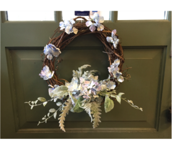 Hydrangea and Dusty Miller Wreath  in Mount Kisco NY, Hollywood Flower Shop