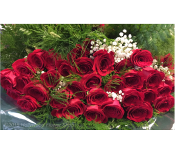 Wrapped Red Roses in Mount Kisco NY, Hollywood Flower Shop