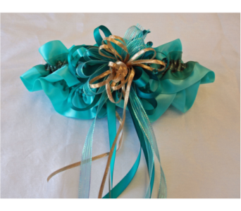 Aqua/Gold Hand Made Garter in Hales Corners WI, Barb's Green House Florist