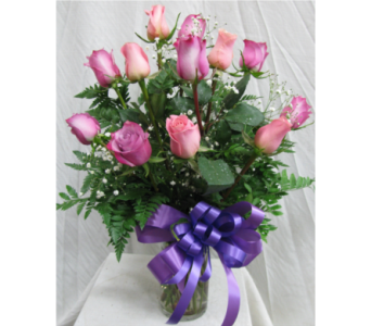 Dozen Roses - Assorted Pink and Lavender in San Diego CA, The Floral Gallery