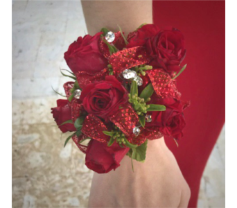 Red Spray Rose Wristlet With Red Trim in Wellington FL, Wellington Florist