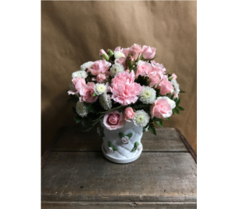 Pink Porcelain Rose Pot in Edmonds WA, Dusty's Floral