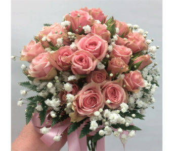 Pink Rose Communion Bouquet in Manhasset NY, Town & Country Flowers