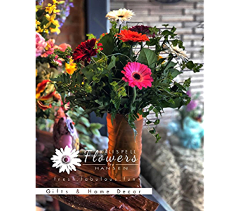 Colorful Gerberas in Vase in Kalispell MT, Flowers By Hansen, Inc.