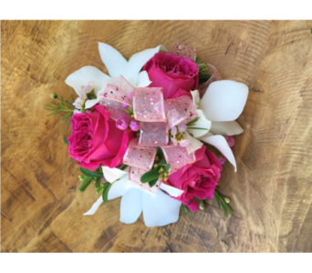 Pink Spray Rose And White Orchid Wristlet in Wellington FL, Wellington Florist