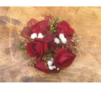 Red Rose Wristlett with Red Trim in Wellington FL, Wellington Florist
