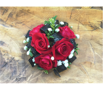 Red Rose Wristlet with Black Trim in Wellington FL, Wellington Florist