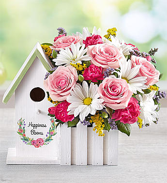 Happiness Blooms Birdhouse  Pink in Round Rock TX, Heart & Home Flowers