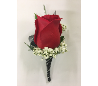 Red Rose with Black and Silver Boutonniere in Wyoming MI, Wyoming Stuyvesant Floral