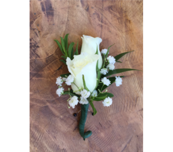 White Spray Rose Boutonniere in Wellington FL, Wellington Florist