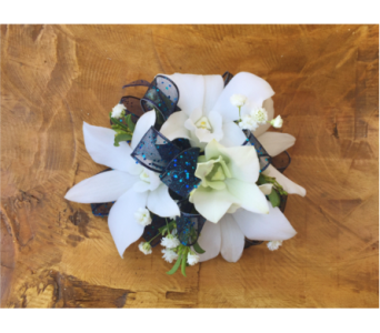 White Orchid Wristlet with Blue Trim in Wellington FL, Wellington Florist