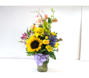 Mason Jar Desk Arrangement in Worcester MA, Holmes Shusas Florists, Inc