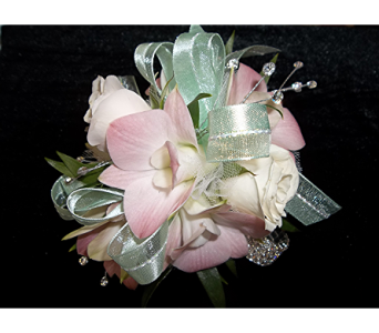 Blush Orchids and White Spray Roses in Waukesha WI, Flowers by Cammy