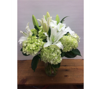 Green Hydrangea and White Lilies in Manhasset NY, Town & Country Flowers