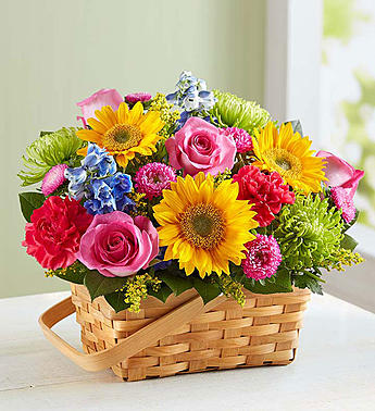 Sunny Garden Basket in Round Rock TX, Heart & Home Flowers
