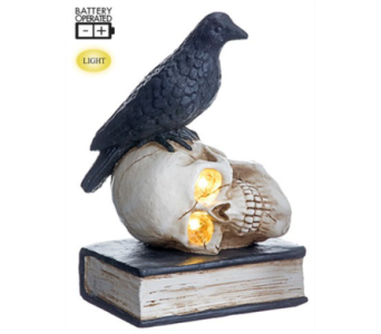 Allstate Floral Battery operated Crow on Skull in Bellevue WA, CITY FLOWERS, INC.