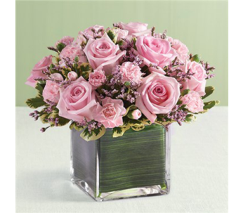 8 Pink Rose and Mini Carnations Cube-SM in Palm Desert CA, Milan's Flowers & Gifts