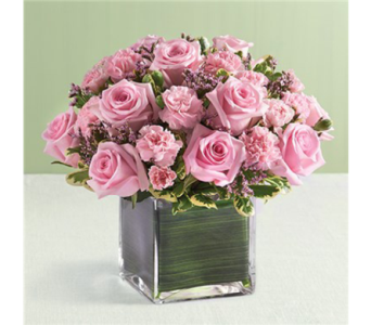 10 Pink Rose and Mini Carnations Cube-M in Palm Desert CA, Milan's Flowers & Gifts