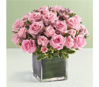 12 Pink Rose and Mini Carnations Cube-L in Palm Desert CA, Milan's Flowers & Gifts
