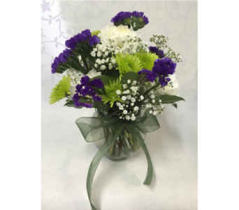 Petite Vase of Green, Purple And White in Philadelphia PA, Schmidt's Florist & Greenhouses
