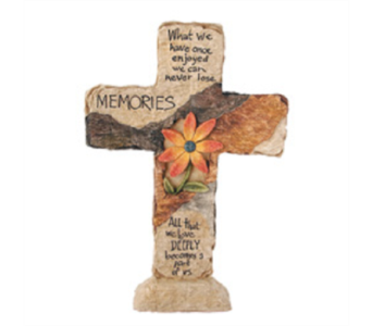 Earthstone Cross - Memories -  in East McKeesport PA, Lea's Floral Shop