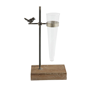Metal & Wood Stand with Glass Vase with Bird in Pascagoula MS, Pugh's Floral Shop, Inc.
