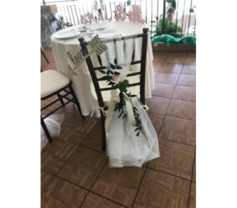 Bride & Groom Chair Decoration in Southampton PA, Domenic Graziano Flowers