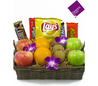 Fruit & Snack Basket in Houston TX, Breen's Clear Lake Flowers