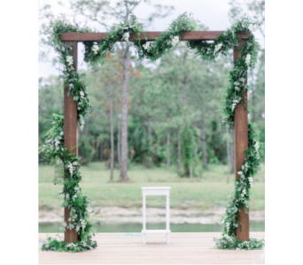 Rustic Wood Arbor with Garland in Stuart FL, Harbour Bay Florist