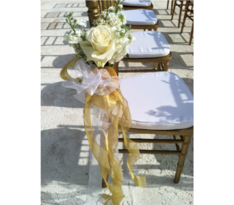 Rose and Stock Chair Decor in Stuart FL, Harbour Bay Florist