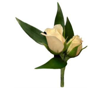 White Spray Rose Boutonniere in Stuart FL, Harbour Bay Florist