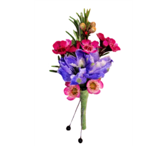 Blue Delphinium and Wax Flower Boutonniere in Stuart FL, Harbour Bay Florist
