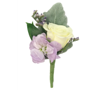 White and Lavender Boutonniere in Stuart FL, Harbour Bay Florist