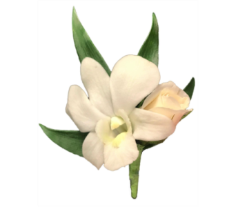 White Orchid and Spray Rose Boutonniere in Stuart FL, Harbour Bay Florist