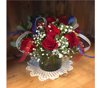 Patriotic Red Roses Arranged in Mount Kisco NY, Hollywood Flower Shop