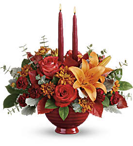 Teleflora's Autumn In Bloom Centerpiece in Reno NV, Bumblebee Blooms Flower Boutique