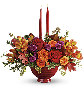 Teleflora's Brightest Bounty Centerpiece in San Jose CA, Amy's Flowers