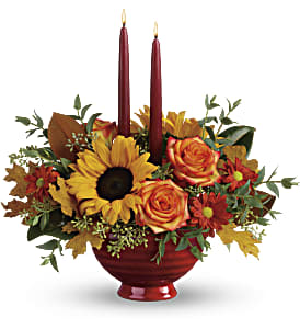 Teleflora's Earthy Autumn Centerpiece in Reno NV, Bumblebee Blooms Flower Boutique
