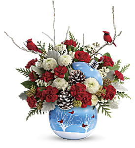 Teleflora's Cardinals In The Snow Ornament in Ponte Vedra Beach FL, The Floral Emporium