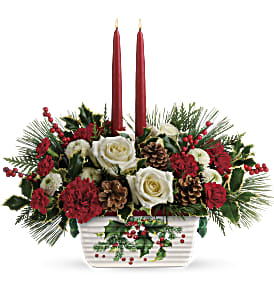 Teleflora's Halls Of Holly Centerpiece in Ponte Vedra Beach FL, The Floral Emporium