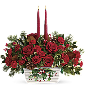 Teleflora's Holly Glow Centerpiece in Park Ridge IL, High Style Flowers