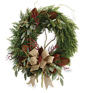 Rustic Holiday Wreath in Wheeling IL, Wheeling Flowers