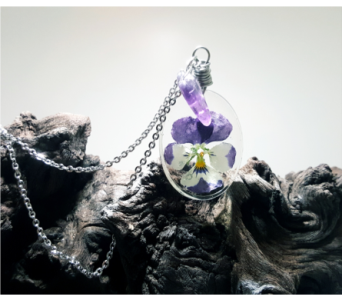 Timeless Keepsake Necklace - Pansy Flower in Bradenton FL, Ms. Scarlett's Flowers & Gifts