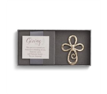 Gold Cross Giving Pin in Fort Worth TX, Greenwood Florist & Gifts