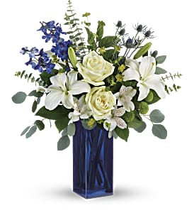 Teleflora's Calming Cobalt Bouquet in Los Angeles CA, RTI Tech Lab