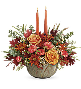 Teleflora's Artisanal Autumn Centerpiece in Los Angeles CA, RTI Tech Lab