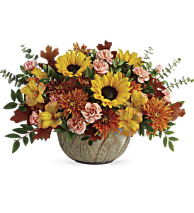 Teleflora's Autumn Sunbeams Centerpiece in Los Angeles CA, RTI Tech Lab