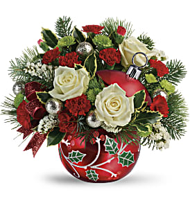 Teleflora's Classic Holly Ornament Bouquet in Los Angeles CA, RTI Tech Lab