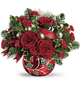 Teleflora's Deck The Holly Ornament Bouquet in Los Angeles CA, RTI Tech Lab