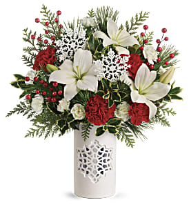 Teleflora's Festive Flurries Bouquet in Los Angeles CA, RTI Tech Lab